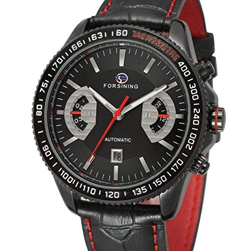 forsining Automatische Steampunk Armbanduhr fuer Herren mit schwarzem Zifferblatt Analog Display fsg231 m3b1