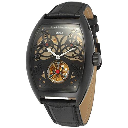 forsining Stilvolle Herren Armbanduhr Tourbillon Tonneau mit Zifferblatt FSG9409M3B1
