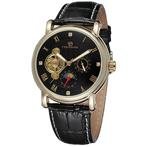 forsining Herren Echtes Leder Moon Phase automatische Armbanduhr fsg800 m3g1