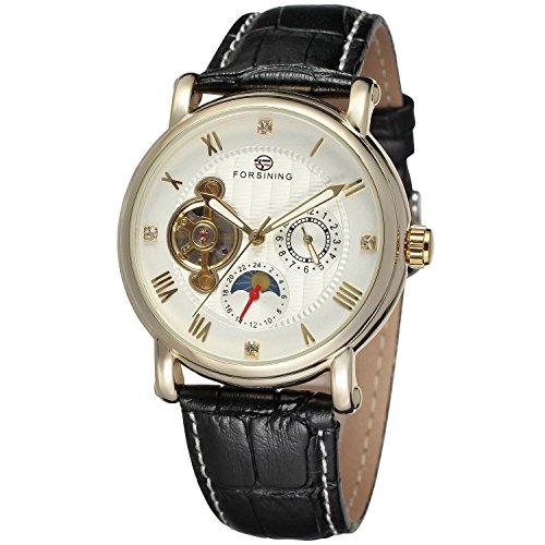 forsining Herren Echtes Leder Moon Phase automatische Armbanduhr fsg800 m3g2