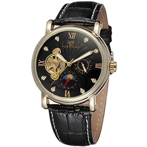forsining Herren Echtes Leder Moon Phase automatische Armbanduhr fsg800 m3g4