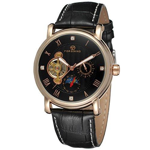 forsining Herren Echtes Leder Moon Phase automatische Armbanduhr fsg800 m3r1