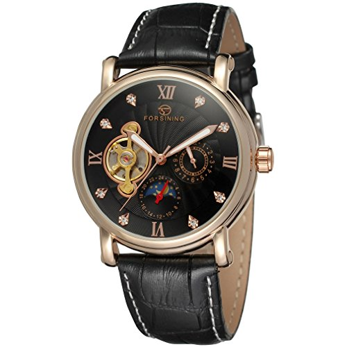 forsining Herren Echtes Leder Moon Phase automatische Armbanduhr fsg800 m3r4