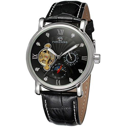 forsining Herren Echtes Leder Moon Phase automatische Armbanduhr fsg800 m3s10