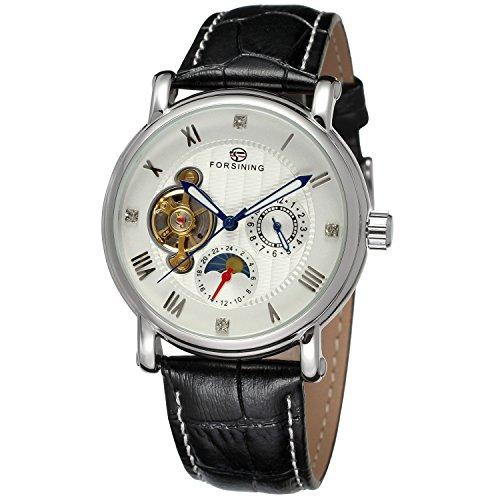 forsining Herren Echtes Leder Moon Phase automatische Armbanduhr fsg800 m3s3