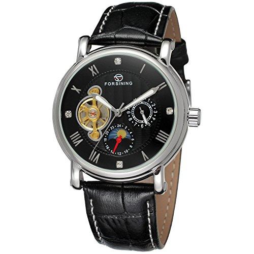 forsining Herren Echtes Leder Moon Phase automatische Armbanduhr fsg800 m3s4