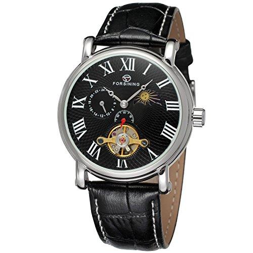 forsining Herren Echtes Leder Moon Phase automatische Armbanduhr fsg800 m3s6