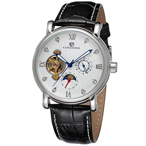 forsining Herren Echtes Leder Moon Phase automatische Armbanduhr fsg800 m3s9
