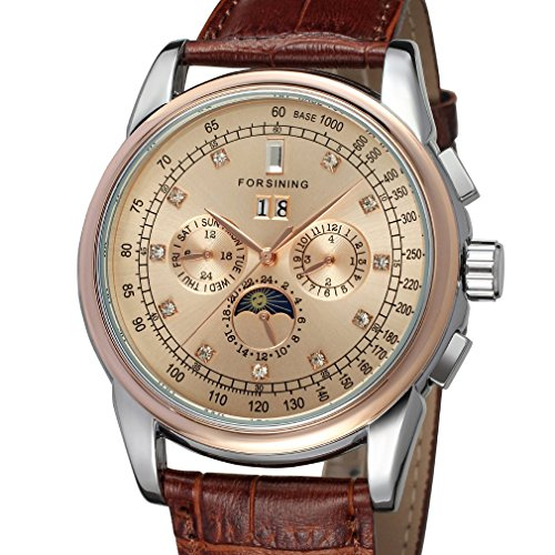 Forsining Mens High end Automatic Moon Phase Leather Wrist Watch FSG319M3T5