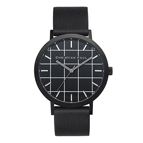 Christian Paul gr 01 Herren Edelstahl schwarz Leder Band Schwarz Zifferblatt Armbanduhr