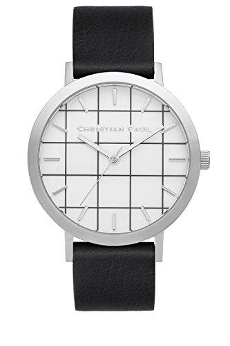 Christian Paul gr 05 Herren Edelstahl schwarz Leder Band Weiss Zifferblatt Uhr