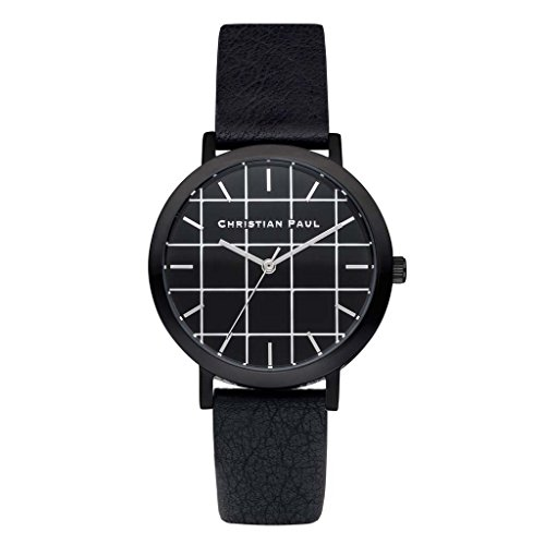 Christian Paul grl 01 Herren Edelstahl schwarz Leder Band Schwarz Zifferblatt Armbanduhr