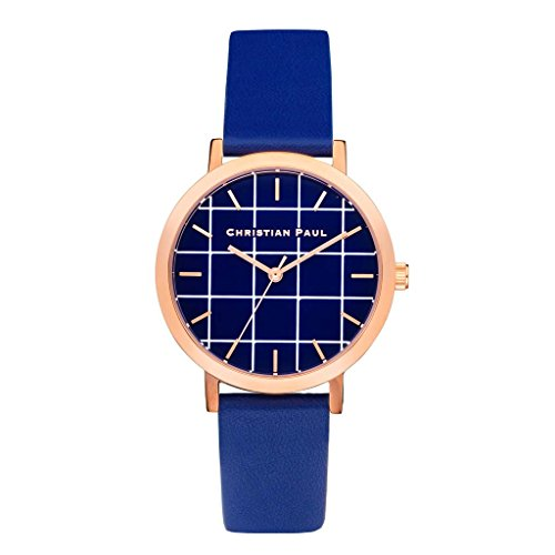 Christian Paul grl 04 Herren Edelstahl blau Leder Band Blau Zifferblatt Armbanduhr
