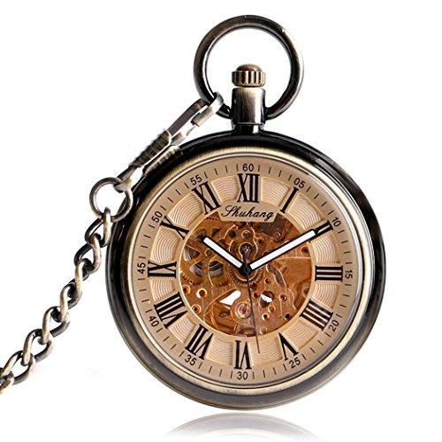Open Face Automatische Mechanische Taschenuhr Miliya Skelett roemischen Ziffern Zifferblatt mit Kupfer Kette Uhren