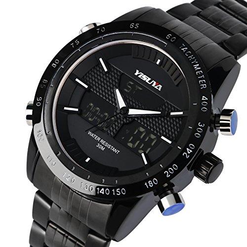 Miliya Luxus Herren LED Digital Dual Display Sport Quarz Multifunktions Wasserdicht Edelstahl Armbanduhr