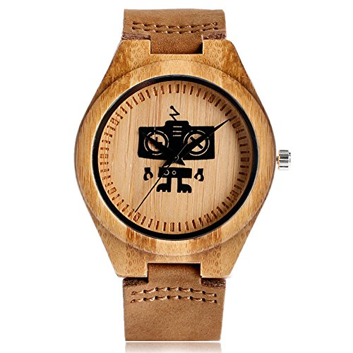 Miliya Einzigartige Roboter Muster Zifferblatt Quarz Analog Lederband Holz Armbanduhr