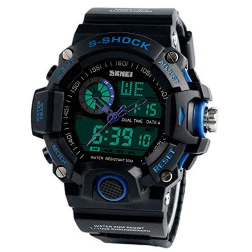 Miliya Herren LCD Analog Digital Multifunktionelle Sport Military Gummi Armbanduhr SKMEI Armbanduhr