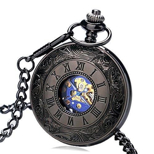 Miliya Herren Luxus Haelfte Hunter mechanische Taschenuhr mit Kette Geschenk Tuete