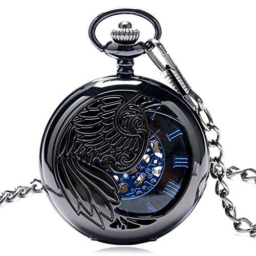 Miliya Herren Cool Hohl Phoenix Feder Fluegel Mechanische Taschenuhr Geschenke Luxus