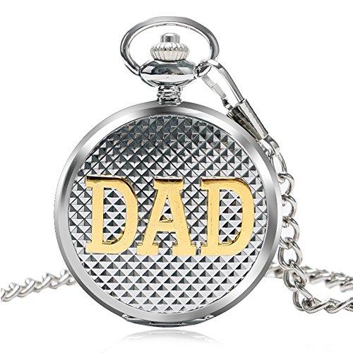 Miliya Silber Dad Quarz roemischen numberal Taschenuhr Kette mit Geschenkverpackung fuer Vater