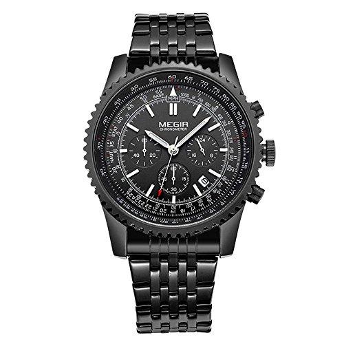 Miliya Herren Schwarz Edelstahl Armbanduhr Chronograph Quarz Militaer Sport Datum Armbanduhr