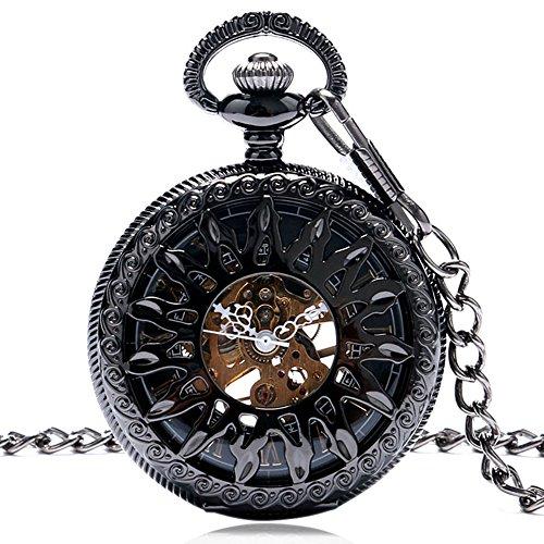 Miliya Steampunk schwarz Fire Rad Roemische Ziffern Skelett Mechanische Taschenuhr mit Kette