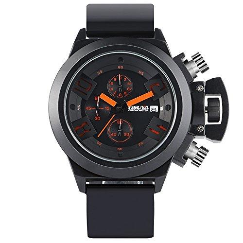 Miliya Herren 3 ATM Wasserdicht Chronograph Datum Outdoor Sports Armbanduhr Silikonband Schwarz