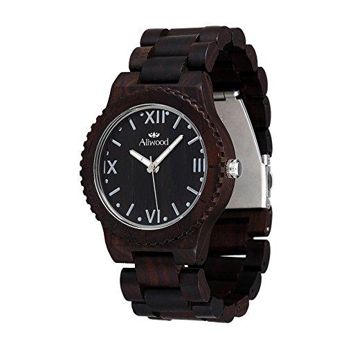 Holz Geschenk Box Verpackung Aliwood Ebony Holz Uhr Naturholz handgemachte japanische Quarz Uhrwerk roemische Ziffer Scales Schwarz Sandalwood Armbanduhr