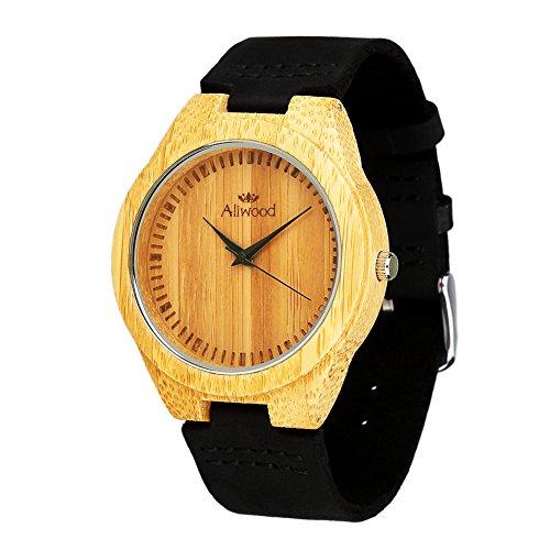 Holz Geschenk Box Verpackung Aliwood Retro natuerliche Bambus Japan Quarz Bewegung Holz Armbanduhr mit schwarzem Lederband Holz Armbanduhr mit leder Armband