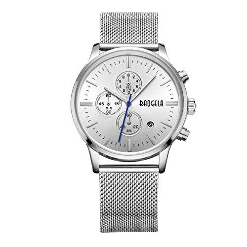 baogela Herren Silber Armbanduhr Edelstahl Stahl Chronograph Kalender Legierung Quarz Sport Armbanduhr