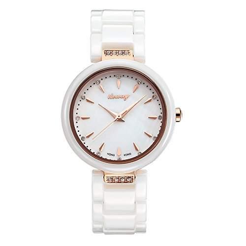 baogela Damen Fashion Rose Gold Uhren mit Keramik Armband Zifferblatt Luxus akzentuierten Kleid ME 1005 BMB