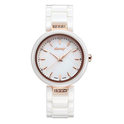 baogela Damen Fashion Rose Gold Uhren mit Keramik Armband Zifferblatt Luxus akzentuierten Kleid IL 6179 BM