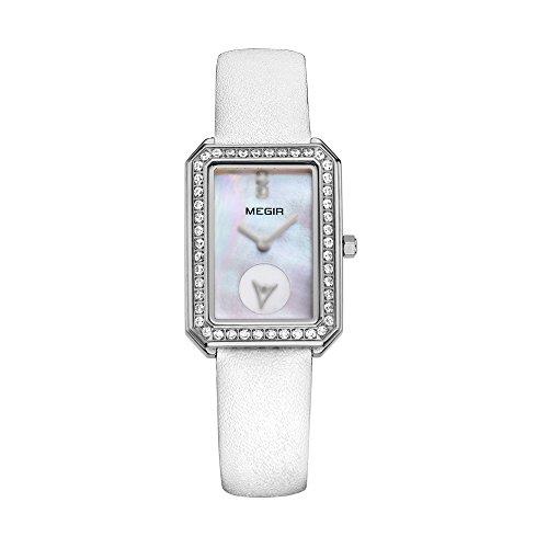 baogela Damen Klassische Quarz Uhren mit Edelstahl Fall Weiss Komfortable Echt Leder Gurt Handgelenk Band ME 4133 BBB