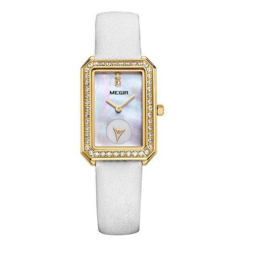 baogela Damen Klassische Quarz Uhren mit Edelstahl Fall Weiss Komfortable Echt Leder Gurt Handgelenk Band ME 4133 BGB