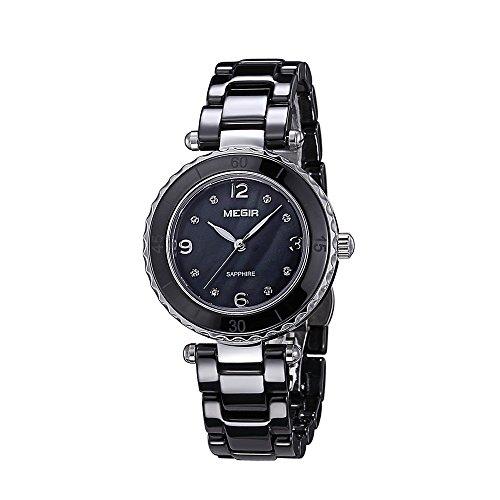 baogela Damen Fashion Schwarz Diamant Elegantes Uhren mit Keramik Armband Zifferblatt Luxus akzentuierten Kleid