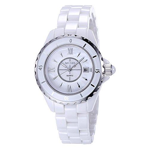 baogela Damen Fashion Weiss Uhren mit Keramik Armband Zifferblatt Luxus akzentuierten Kleid