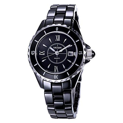 baogela Damen Fashion Schwarz Uhren mit Keramik Armband Zifferblatt Luxus akzentuierten Kleid