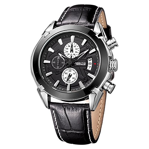 Baogela Quarz Armbanduhr Lederband Schwarz Zifferblatt Schwarz