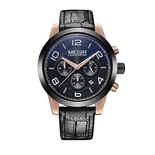 baogela Herren rosegoldenem Fashion Design Wasserdicht Handgelenk Uhren mit Edelstahl Fall bequem schwarz Leder Guertel