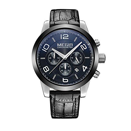 baogela Herren Schwarz Fashion Design Wasserdicht Handgelenk Uhren mit Edelstahl Fall bequem schwarz Leder Guertel