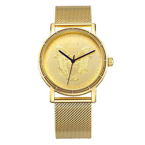BAOGELA Mens Gold watch Stainless Steel Chronograph Calender Alloy Quartz Sport Wrist Watch