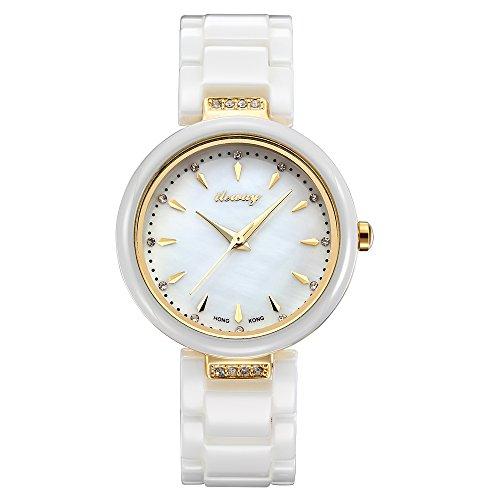 baogela Damen Fashion Wasserdicht Handgelenk Uhren mit Keramik Armband Zifferblatt Luxus akzentuierten Kleid