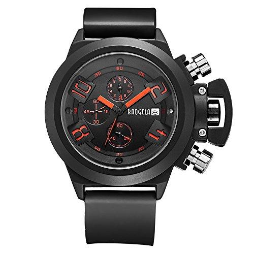 baogela schwarz Zifferblatt Silikon Armee Militaer Chronograph Kalender Analog Display Quarz Armbanduhr