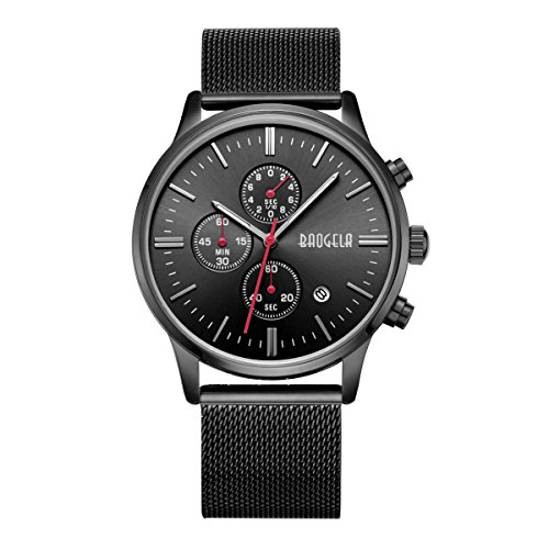 baogela Herren Black Watch Edelstahl Chronograph Kalender Legierung Quarz Sport Armbanduhr