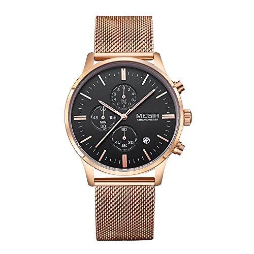 baogela Herren Schwarz Rose Gold Edelstahl Chronograph Kalender Legierung Quarz Fashion Armbanduhr