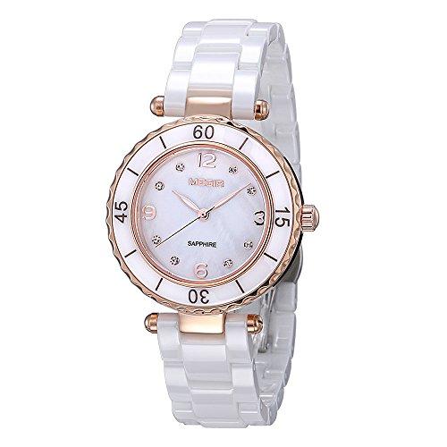 Damen Fashion Rose Gold Diamant Elegante Uhren mit Keramik Armband Zifferblatt Luxus akzentuierten Kleid