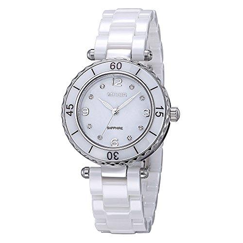 Damen Fashion Diamant weiss elegante Uhren mit Keramik Armband Zifferblatt Luxus akzentuierten Kleid