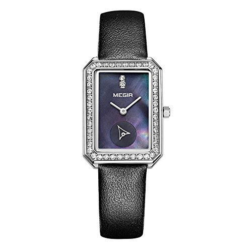 baogela Damen Klassische Quarz Uhren mit Edelstahl Fall Schwarz Komfortable Echt Leder Gurt Handgelenk Band