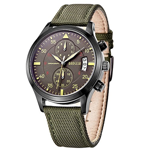 Baogela Quarzuhr Armbanduhr fuer Herren analog klassisches laessiges Design gruenes Zifferblatt gruenes Lederband