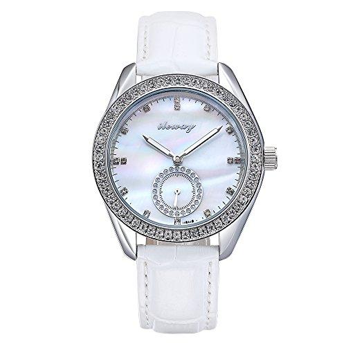 baogela Damen Fashion Design Wasserdicht Handgelenk Uhren mit Edelstahl Fall Zifferblatt Luxus akzentuierten Kleid bequem weiss Leder Guertel